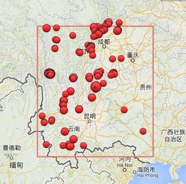 震中周边(10°×10°)过去1年(从当前时间算起)3.0级以上地震分布图