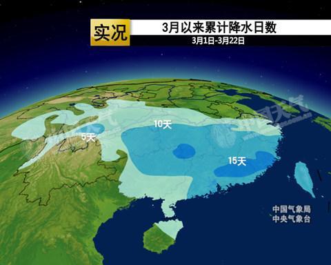 3月以来,南方大部降雨日数超过10天。