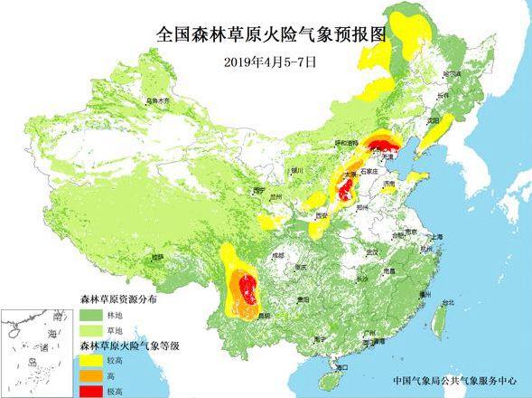 2019年4月5-7日,全国森林草原火险气象预报图.(图片来源:中国气象局)